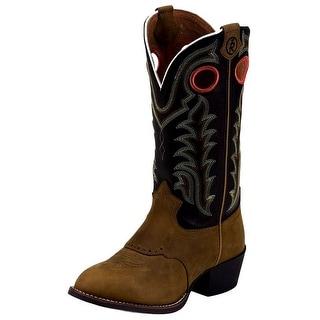 Tony Lama Western Boots Boys 3R Kids Buckaroo Stitched Round Tan LL401