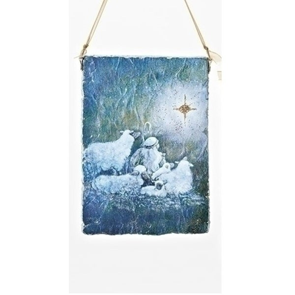 "5"" Shephard Boy Watching the Star of Bethlehem Hanging Plaque Christmas Ornament - BLue"