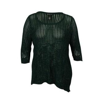 INC Women's Metallic Knitted Tunic Sweater - hunter forest