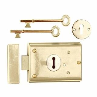 Rim Lock Brass Plated Steel Rim Lock Brass-plated Steel 3H x 4 7/8W in