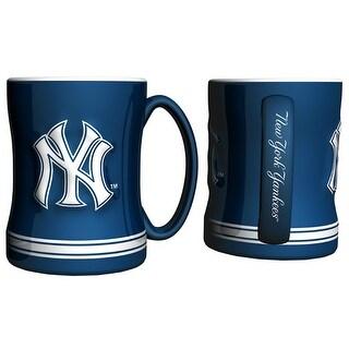 New York Yankees Coffee Mug - 14oz Sculpted Relief - Blue