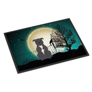 Carolines Treasures BB2236MAT Halloween Scary Staffordshire Bull Terrier Blue Indoor or Outdoor Mat 18 x 0.25 x 27 in.