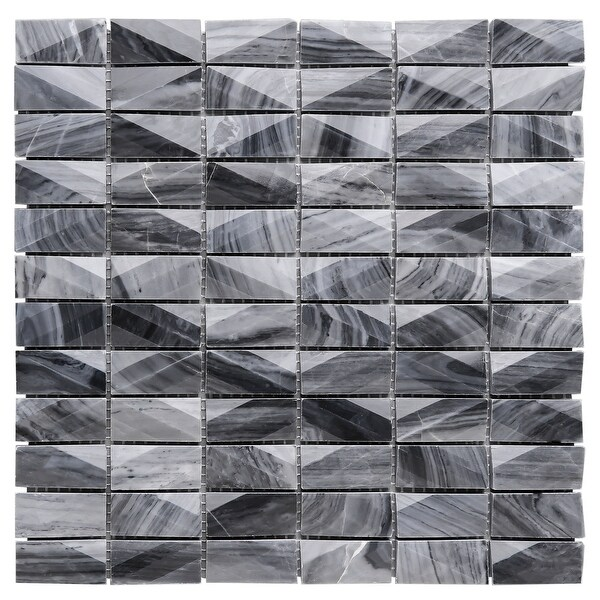 "TileGen. 1"" x 2"" 3D Cut Marble Mosaic in Gray Wall Tile (10 sheets/9.7sqft.). Opens flyout."