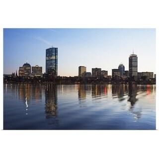 """""""Massachusetts, Boston skyline at dusk"""" Poster Print"""