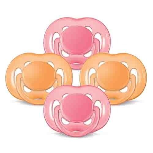 Pacifier Pink/Orange 6-18mth Freeflow Orthodontic Pacifiers