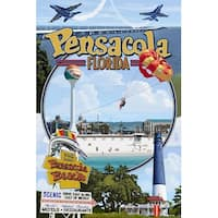 Pensacola, FL - Montage Scenes - LP Artwork (Cotton/Polyester Chef's Apron)