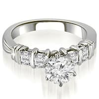 1.20 cttw. 14K White Gold Bar Setting Princess Cut Diamond Promise Ring