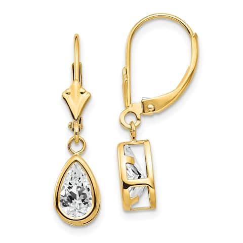 14K Yellow Gold 8x5mm Pear Cubic Zirconia Leverback Earrings by Versil