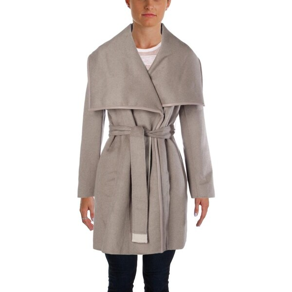 Elie Tahari Womens Coat Wool Blend Leather Trim