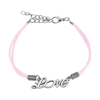 Love Cast Iron Leatherette Bracelet with Lobster Claw Clasp (10 mm) - 7.5 in