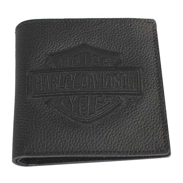 "Harley-Davidson Mens Embroidered B&S Tall Bi-Fold Wallet, Black XML2959-BLACK - 4.5"" x 4.5"""