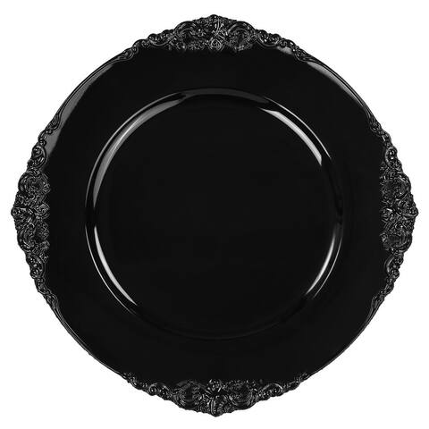 1 Pk, Vintage Round Charger Plate - Black