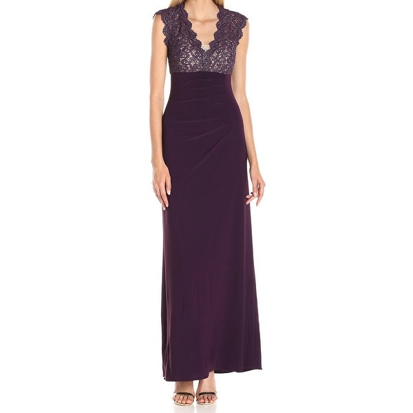 Xscape NEW Deep Purple Womens Size 8 Lace-Illusion Ball Gown Dress ...