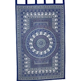 "Handmade Paisley Mandala 100% Cotton Tab Top Curtain Panel 44"" x 88"" Blue"