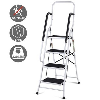 Gymax 2 In 1 Non-slip 4 Step Ladder Folding Stool w/ Handrails 330Lbs Load Capacity