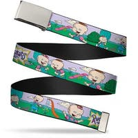 Blank Chrome Buckle Rugrats Lil & Phil Outdoor Poses Webbing Web Belt