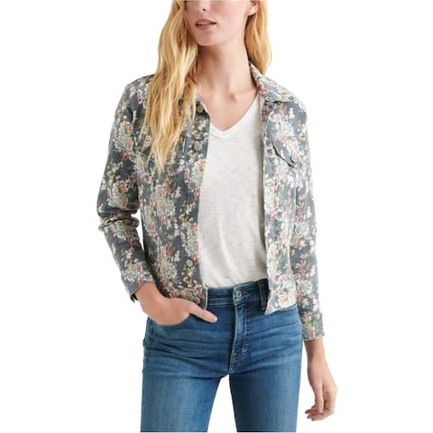 Lucky Brand Womens Floral Trucker Jean Jacket, Grey, X-Small