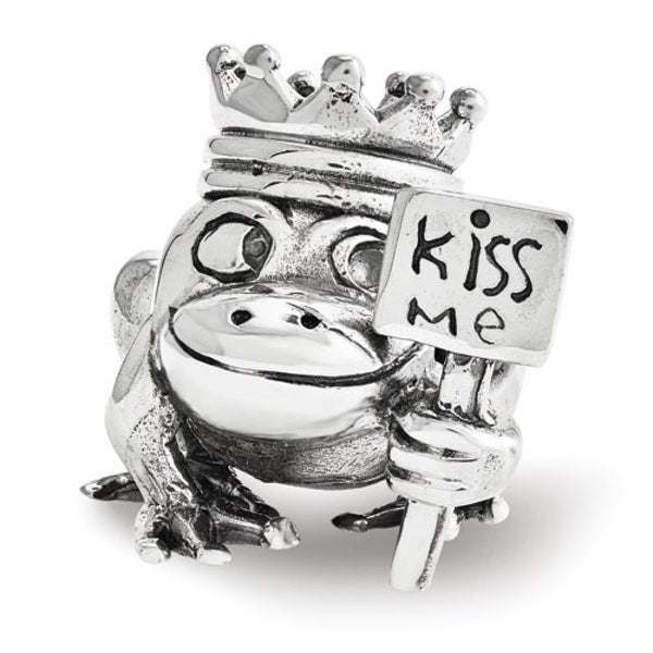 Sterling Silver Reflections Frog Prince Kiss Me Bead (4mm Diameter Hole)