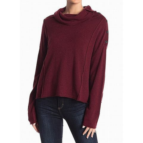 Splendid Red Womens Size Large L Button Turtleneck Mock Sweater
