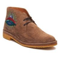 Gucci Men's Suede Embroidered Boot Shoe Brown