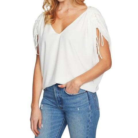 1.STATE White Ivory Women Large L V-Neck Drawstring Sleeve Blouse