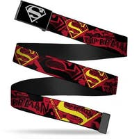 Superman Reverse Brushed Silver  Cam Superman X Ray Vision Black Red Web Belt