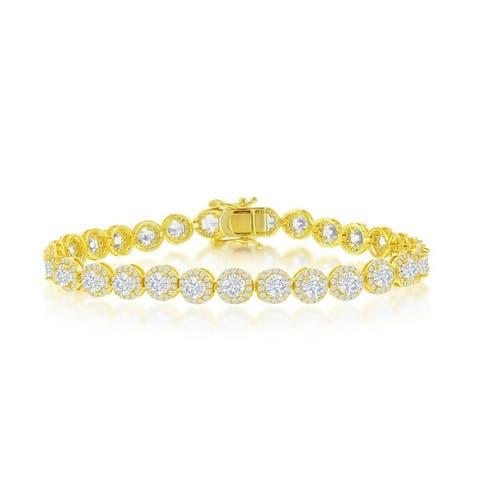 "La Preciosa Sterling Silver Halo Round Cubic Zirconia 7.5"" Linked Bridal Tennis Bracelet Silver/Gold Sterling Silver Jewelry"