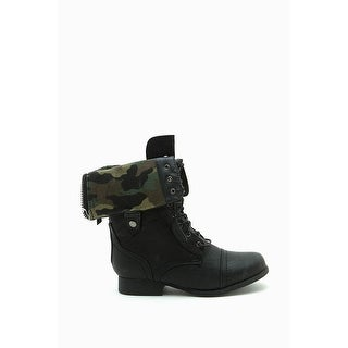 Wild Diva Womens Jetta-25F Lace Up Combat Military Boots With Foldable Cuff
