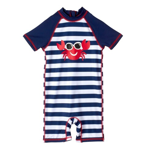 Wippette Baby Boys Stripes Crab with Sunglasses Bathing Suit Swimsuit Rash guard