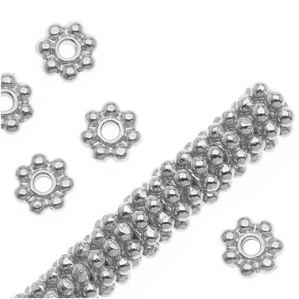 TierraCast Bright Silver Plated Pewter Daisy Spacer Beads 4mm (x 50)