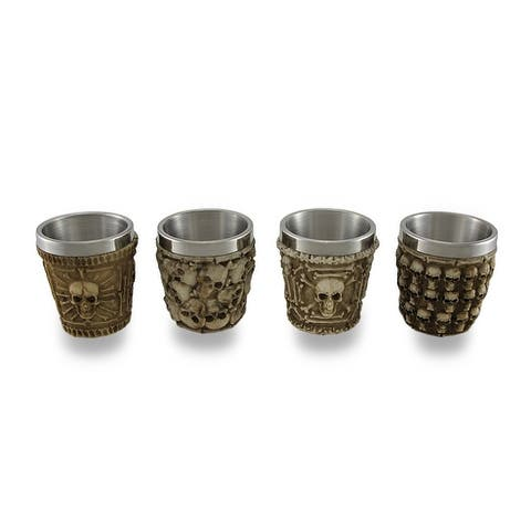 Set of 4 Human Skull Themed Shot Glasses - 2.2 X 2 X 2 inches