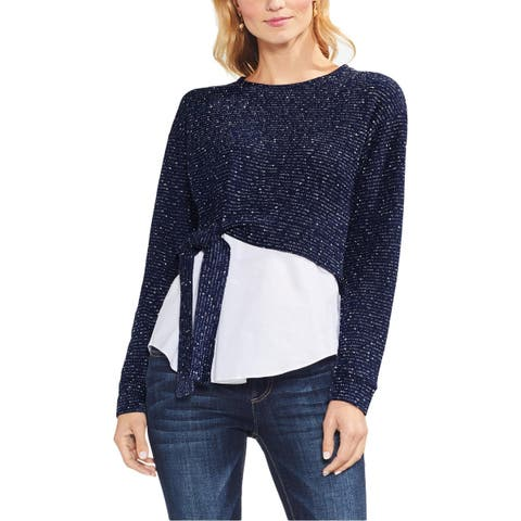 Vince Camuto Womens Pullover Sweater Layered Look Tie Front