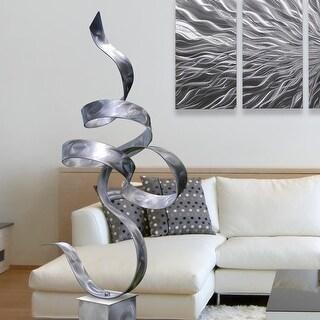 Statements2000 Modern Metal Sculpture Indoor Outdoor Garden Art Decor by Jon Allen - Silver Perfect Moment with Silver Base