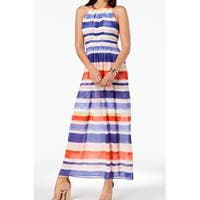 Vince Camuto Blue Womens Size 10 Striped Chiffon Halter Maxi Dress