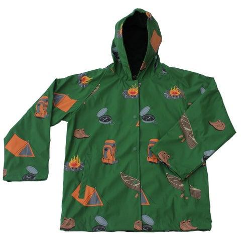 Foxfire Little Boys Green Grey Camping Print Hooded Lined Raincoat