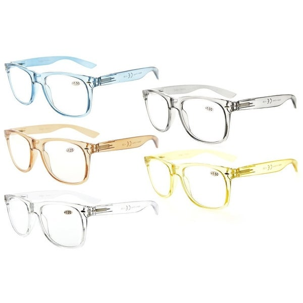 Eyekepper 5 Pack Spring Hinges Large Simple Reading Glasses RX Magnification (One for each color, +4.00)
