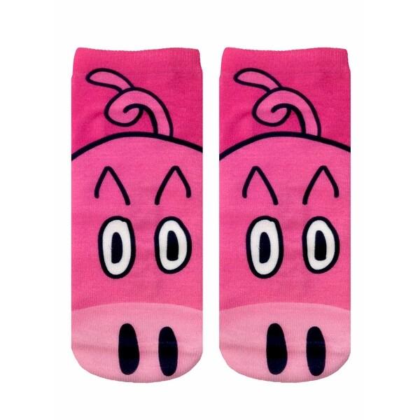 Pig Photo Print Ankle Socks - Pink