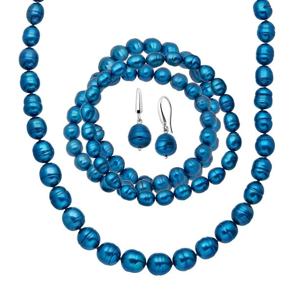 Indigo Freshwater Ringed Pearl Earring, Bracelets & Necklace Set in Sterling Silver