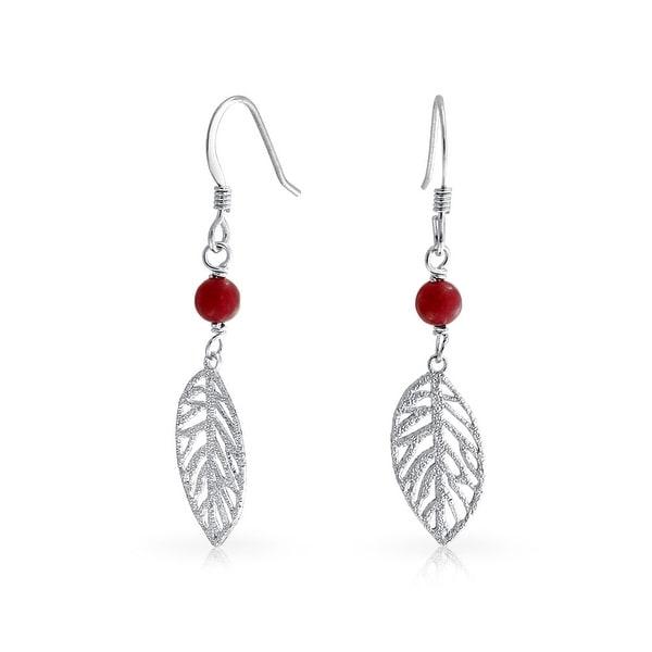 Bling Jewelry  925 Silver Stardust Glitter Red Resin Bead Leaf Earrings