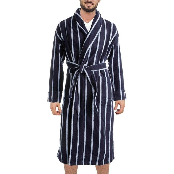 Majestic International Mens Long Robe Terry Striped - S/M