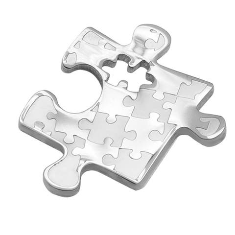 Autism Awareness Small Puzzle Design Stainless Steel Pendant - Silver