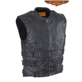 Mens Genuine Leather Replica Swat Vest With Gun Pocket Size L