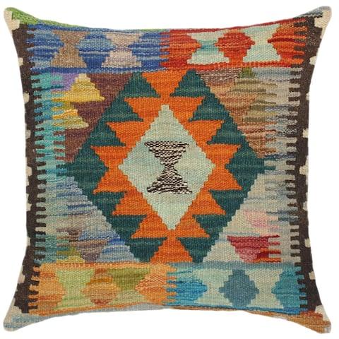 Southwestern Izetta Hand-Woven Turkish Kilim Throw Pillow