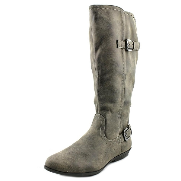White Mountain Finalist Wide Calf Women Round Toe Suede Gray Knee High Boot