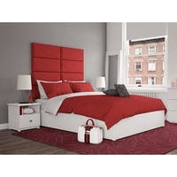 Vant Upholstered Wall Panels (Headboards) Sets of 4 - Micro Suede Red Melon - 30 Inch - Full-Queen.