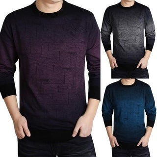 Men's Autumn Casual Triangle Ombre Woolen Blend Pullover Crew Neck Sweater Top