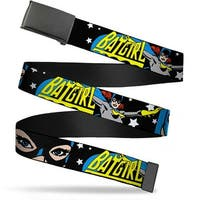 Blank Black Buckle Batgirl W Face Close Up & Stars Black White Web Belt