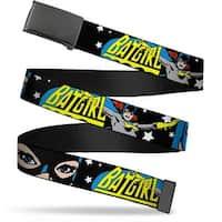 Blank Black Buckle Batgirl W Face Close Up & Stars Black White Web Belt