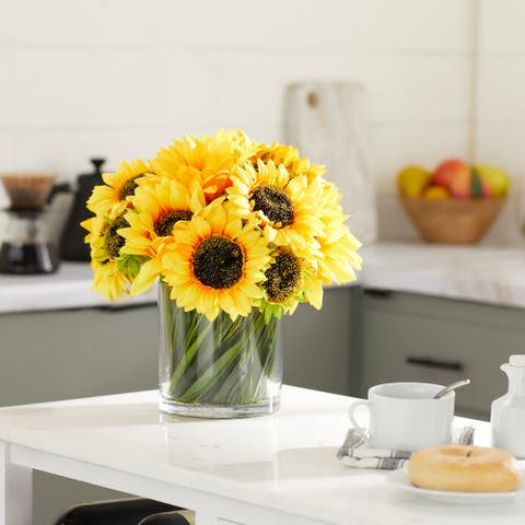 """Sunflowers in Glass Vase w Acrylic Water and Grass 14""""L x 14""""H - 14 x 14 x 14"""