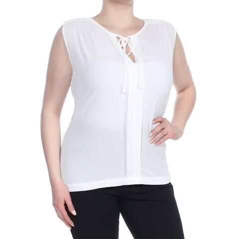 TAHARI Womens Ivory Tie Neck Sleeveless Wear to Work Top Size 1X